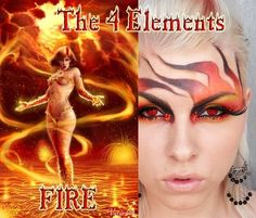 """Intense red, orange and black """"fiery"""" eye shadow with small red crystal accents inspired by """"Fire"""" of """"The 4 Elements""""."""