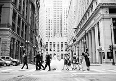 Showing some serious Chicago style here—the wedding party in black-and-white | W Chicago Lakeshore | Sarah Postma Photography & Taz Luto