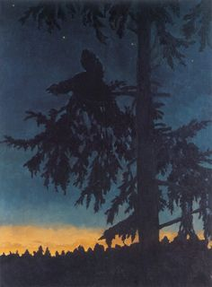 should be cross-posted in childhood -- this is a Kittelsen print. Sale Artwork, Creature Art, Painting, Moonlight Painting, Art, Nature Paintings, Woodcut, Landscape Art, Most Popular Artists