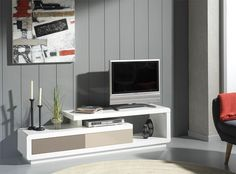 Hercules Contemporary TV Unit in Various Colour Choices - Modern TV unit with 2 doors in choice of white, grey or beige