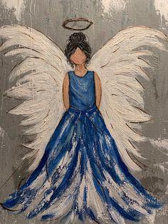 Add doves to dress(Jess) Disney Paintings, Cute Paintings, Unique Paintings, Beautiful Paintings, Angel Paintings, Trippy Painting, Easy Canvas Painting, Canvas Art, Angel Artwork