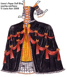 Halloween Costume Series Day 20: Halloween Themed 1700s French Court Dress with Orange Bows and Spider Lace | Liana's Paper Dolls