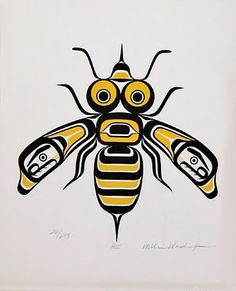 Tlingit Bee, by William Wasden among strong attributes of the bee is loyalty. Haida Kunst, Inuit Kunst, Arte Inuit, Haida Art, Inuit Art, Native Art, Native American Art, Haida Tattoo, Kunst Der Aborigines
