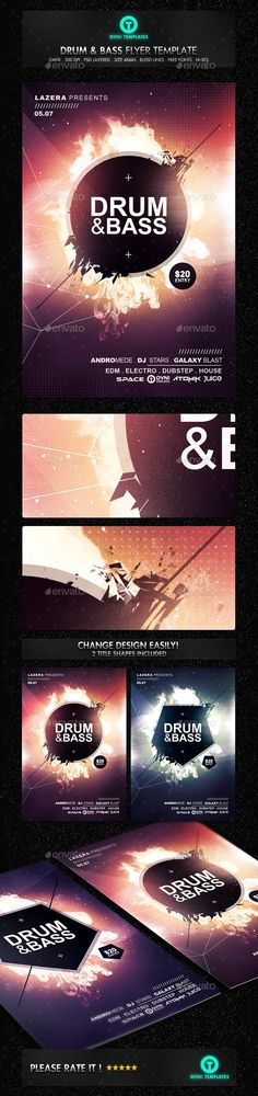 SPACE ELECTRO Flyer Template by OVNI-TEMPLATES on @creativemarket - electro flyer
