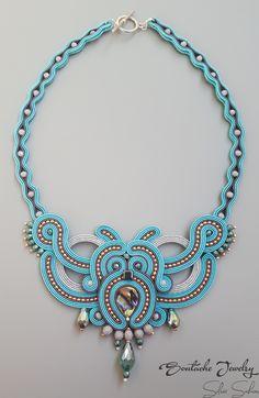 Turquoise Unique Handmade Soutache Necklace