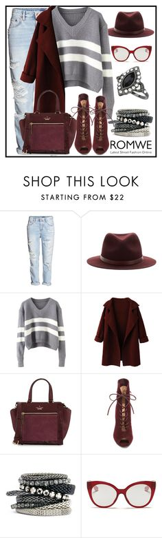 """V Neck Striped Grey Sweater ROMWE"" by milovanovic ❤ liked on Polyvore featuring H&M, rag & bone, WithChic, Kate Spade, Gianvito Rossi, Miu Miu, Miss Selfridge, women's clothing, women and female"