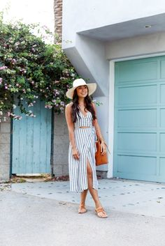 Stripes Down Rialto - ASTR The Label dress // Joie sandals // Janessa Leone hat // Mansur Gavriel bucket bag July 11, 2017
