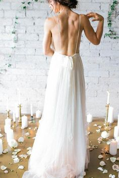 Simple Deep V-neck Sweep Train Wedding Dresses With Straps WD010 - Pgmdress