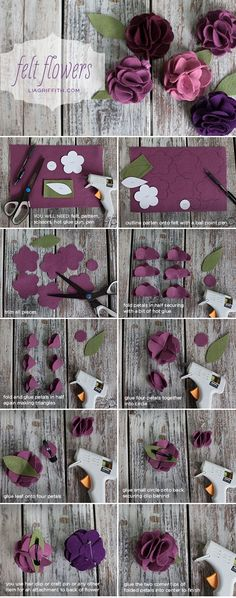 Felt Flower Tutorial Use as table decor, a gift topper or even on your shoes (Diy Decorations Flowers) Handmade Flowers, Diy Flowers, Fabric Flowers, Paper Flowers, Handmade Ideas, Felt Flowers Patterns, Felted Flowers, Felt Roses, Diy Ideas