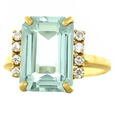 1950s Retro Aquamarine Diamond Gold Ring | From a unique collection of vintage…