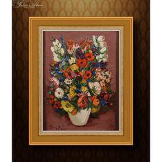 OBRAZ OLEJNY -GERMAINE BRUS( 1915-2015) – KWIATY W WAZONIE . Obraz: 81 x 61 cm Rama: 102 x 82 cm Materiał: Olej na płótnie . Autor:GERMAINE BRUS( 1915-2015)-belgijska malarka urodzona w Antwerpii. Już jako uznana artystka, w wieku 42 lata rozpoczęła studia w Królewskiej Akademii Sztuk Pięknych, gdzie została doceniona przez Juliena Creytensa- dyrektora Akademii. Który pozostał mentorem artystki podczas studiów i całej kariery. W latach 60 i 70 Brus osiągnęła szczyt popularności. Malowała… Fauvism, Antwerp, Impressionism, Still Life, Portrait, Canvas, Flowers, Painting, Art