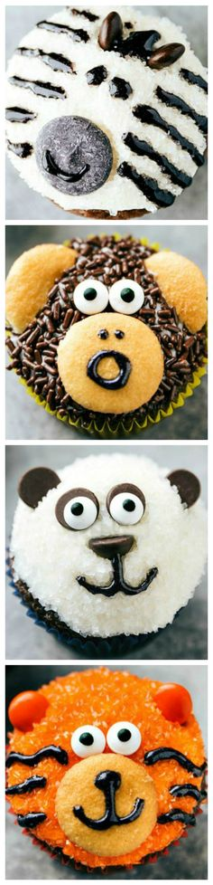 Easy Jungle Cupcakes ~ Four simple and easy to make animal jungle cupcakes... A zebra, monkey, tiger, and a panda.