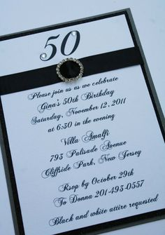 Black and White 50th Birthday Invitations by atouchofsunshine1, $3.50
