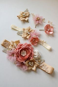 This item is unavailable Bridal Sash Bridal beltWedding SashGold Champagne Pink Diy Baby Headbands, Diy Headband, Baby Bows, Diy Bow, Diy Hair Bows, Wedding Belts, Wedding Sash, Wedding Dresses, Bridal Sash