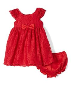 $9.99 Another great find on #zulily! Red Lace Angel-Sleeve Dress - Infant, Toddler & Girls #zulilyfinds