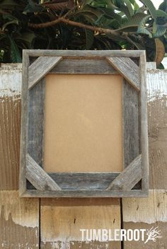 """Reclaimed, up-cycled, handmade rustic barnwood frame. With corner detail. 8x10"""" $20"""