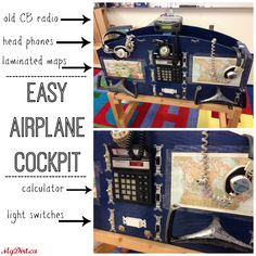 Make this Easy Airplane Cockpit for your kids. Endless hours of playing pilot, co-pilot and passengers. Pin and get the hubby to make it!