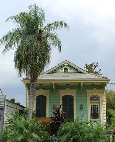happy happy shotgun house in New Orleans, Louisiana, USA Cozy Cottage, Coastal Cottage, Cottage Homes, Coastal Living, Small Cottages, Cabins And Cottages, Beach Cottages, Beach Houses, Shotgun House