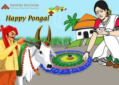 Infotree Solutions Wishes Happy Bhogi, Makara Sankranthi & Kanuma Festival to All! Rangoli Borders, Rangoli Border Designs, Rangoli Designs, Sankranthi Wishes, Sankranthi Festival, Pongal Images, Happy Pongal Wishes, Mustache Invitations, Pongal Celebration
