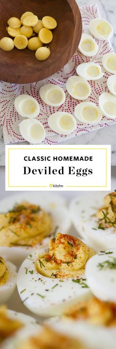 Perfect deviled eggs, creamy and a little tangy - classic! Here's the simplest way to make easy-peel boiled eggs and to devil them delicious. Perfect Deviled Eggs, Best Deviled Eggs, Deviled Eggs Recipe, Classic Deviled Eggs, Easy Peel Boiled Eggs, Egg Recipes, Cooking Recipes, Slow Cooking, Eggs