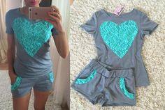Hot New Women Clothing Set 2016 Ladies Shorts Suit Lace Patchwork Heart Shape T-shirt Short Sleeve Top+Shorts Set Two piece Set