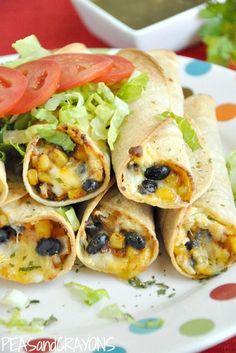 Baked Black Bean + Sweet Potato Flautas #vegetarian #glutenfree #vegan option