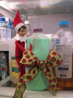 Day 19 - that crazy elf turned the milk green and tied it with a bow. Elf on the shelf.