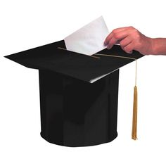It's hats off to your clever and fun graduation party decorations with this card collector. Celebrate the big achievement with our Black Mortarboard Card Box as graduation centerpiece. The box stands like a tall grad cap with extra wide top, fitted with a Graduation Card Boxes, Graduation Party Planning, College Graduation Parties, Graduation Party Supplies, Graduation Celebration, Graduation Decorations, Graduation Cards, Grad Parties, Graduation Centerpiece