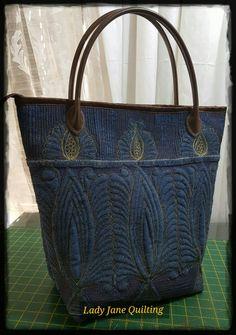 Free motion quilted bag on upcycled jeans with Metallic gold thread-done! #berninarsa #berninaambassador #ladyjanequilting #telenejeffrey