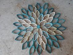 Dahlia wall hanging Teal home decor Paper wall art Original wall decoration  Trendy colors and modern art combine in this incredible dahlia