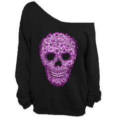 Skull Off Shoulder Slouchy Sweatshirt Sweater Big Oversize Sweater Off Shoulder Sweatshirt Sweater S