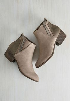 Portland by Morning Bootie in Taupe by Madden Girl - Tan, Silver, Solid, Work, Colorblocking, Minimal, Summer, Better, Chunky heel, Ankle, Brown, Neutral, Casual, Fall, Low, Faux Suede