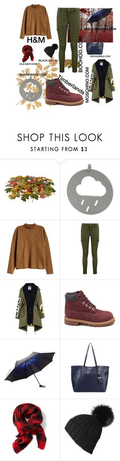 """Rainy Days"" by chrissi07 ❤ liked on Polyvore featuring H&M, Boohoo, Moschino, Timberland, Prada, Old Navy, Black and rainy"