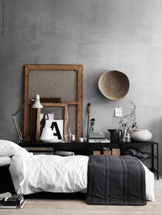 Here we showcase a a collection of perfectly minimal interior design examples for you to use as inspiration.Check out the previous post in the series: 30 Examples Of Minimal Interior Design Interior Design Examples, Interior Design Inspiration, Design Ideas, Design Styles, Design Trends, Interior Ideas, Gray Bedroom, Home Bedroom, Modern Bedroom