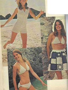 Summer play suit (top left) worked in lacy shells is beautifully shaped with crocheted-in darts. Sizes 8 – 16.