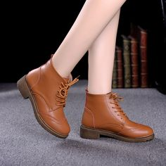 Women's Lace-up Chunky Heel Ankle Boots   Upper Material: Leather Outsole Material: TPR Heel height: 3 cm Color: Black, Brown #omgnb #boots