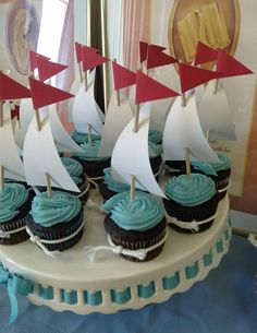 Predilections: New Beginnings: Embark talkAround a year and a half ago I was asked to lead the group of girls at church from the ages of 12 to I do this in a volunteer capacity .Anchor Your Soul in Christ themeCute little sailboats. Sailor Baby Showers, Baby Boy Shower, Nautical Party, Nautical Wedding, Nautical Theme Cupcakes, Sea Cupcakes, Birthday Woman, Boy Birthday, Vintage Santas