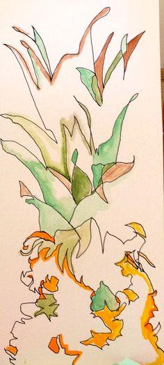 """pineapple 2"" blind contour drawing deb@debyagerart.com"