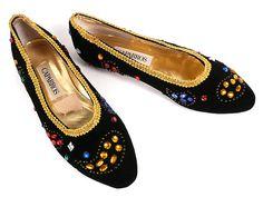 Vintage 80s Caparros Jeweled Black Velvet by HeelsOnaShoestring, $37.90
