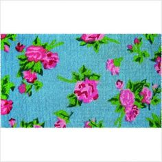 """Antique Roses Extra Thick Hand Made Coir Doormat 18"""" x 30"""" by Entryways. $49.95. Excellent dirt-trapper.. Size 18 x 30 inches, 1 1/2 inches thick.. Will enhance your entry way or patio.. Hand made in India from the highest quality all natural coconut fiber.. Hand stenciled with permanent fade-resistant dyes.. This beautifully designed hand-woven doormat will enhance your entry way or patio. It's made from the highest quality all natural coconut fiber."""