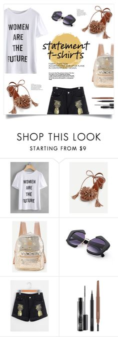"""""""Say It Loud: Slogan T-Shirts"""" by mahafromkailash ❤ liked on Polyvore featuring MAC Cosmetics"""