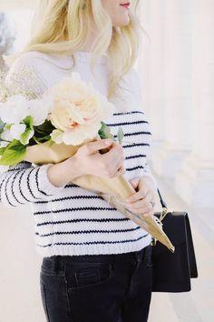 KNITTING PATTERN Classic Stripe Sweater Paris Chic Style