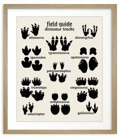 Dinosaur Nursery Art, Field Guide to Dinosaur Tracks #dinosaur #nursery