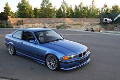 Estoril blue BMW e36 on 18'' monoblock BBS RC wheels
