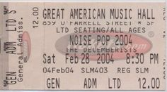 The Decemberists at the Great American Music Hall (GAMH) for Noise Pop in San Francisco, 28 Feb 2004 (ticket)