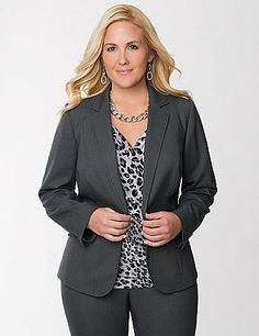 In our draping Tailored Stretch fabric for a fabulous fit and feel, this birdeye textured jacket instantly elevates your wear-to-work wardrobe. Banded waist and buttoned front offer a structured fit, tailored with contoured seams to highlight your curves beautifully. Finished with notched lapels, button-accented cuffs and flapped pockets. Fully lined. Wear as a blazer or go for a coordinated look with the matching pant.   sonsi.com