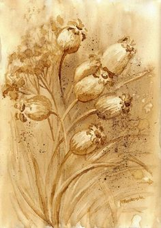 Suchetki - watercolour painted with coffee - Maria Roszkowska Coffee Artwork, Coffee Painting, Watercolour Painting, Flower Art, Doodles, Minden, Drawings, Flowers, Frames
