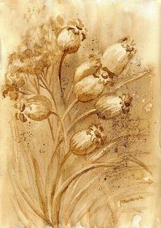Suchetki - watercolour painted with coffee - Maria Roszkowska