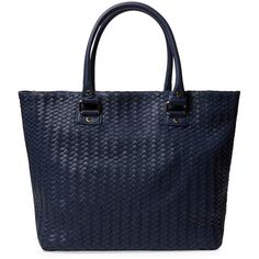 Deux Lux Sunday Woven Faux Leather Tote ($59) ❤ liked on Polyvore featuring bags, handbags, tote bags, accessories handbags, vegan purses, blue handbags, faux leather tote and vegan handbags