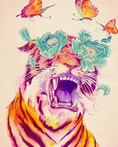 Hipster tiger #hipster #tiger #wallpaper #draw #drawing #free #flower #flowers